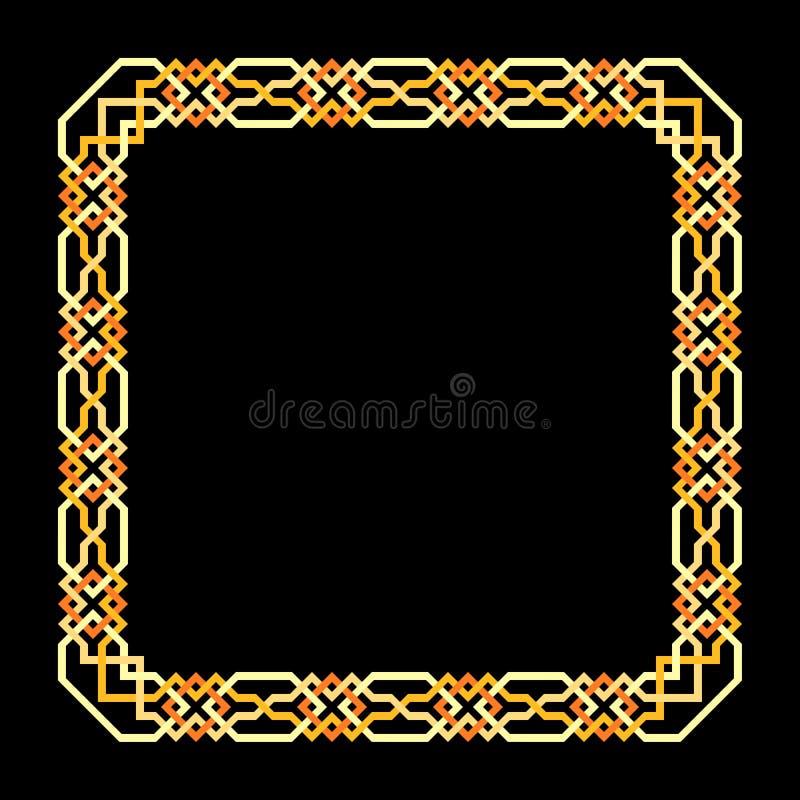 Fyrkantig ram för vektor med den sömlösa islamiska modellen forntida upprepat motiv en dekorativ gräns som konstrueras från fortl vektor illustrationer