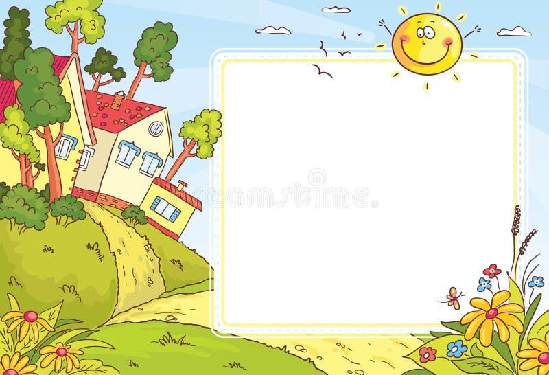 Fyrkantig ram med bygdlandskap stock illustrationer