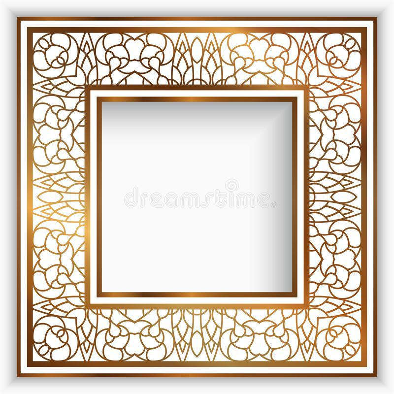 Fyrkantig ram med den guld- gränsen stock illustrationer
