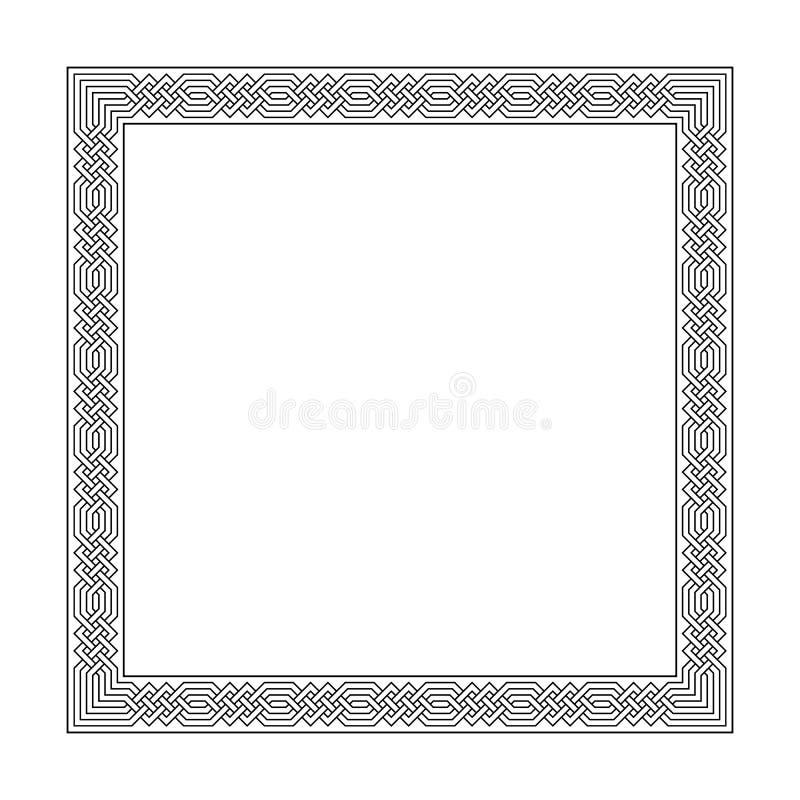 Fyrkantig ram med den sömlösa islamiska modellen forntida upprepat motiv vektormeandros en dekorativ gräns som konstrueras från vektor illustrationer