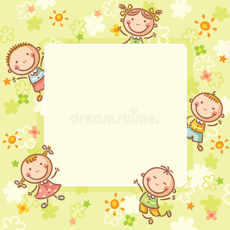 Fyrkantig ram med fem ungar royaltyfri illustrationer