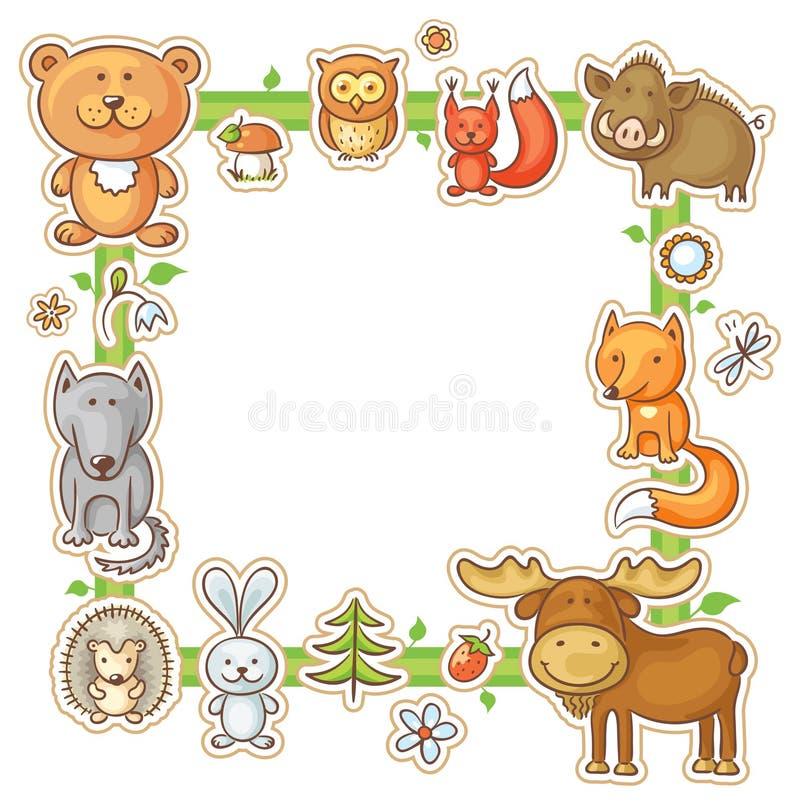 Fyrkantig ram med Forest Animals royaltyfri illustrationer