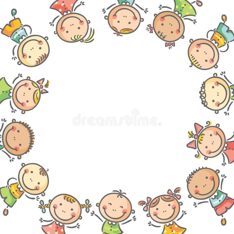 Fyrkantig ram med många lyckliga ungar royaltyfri illustrationer