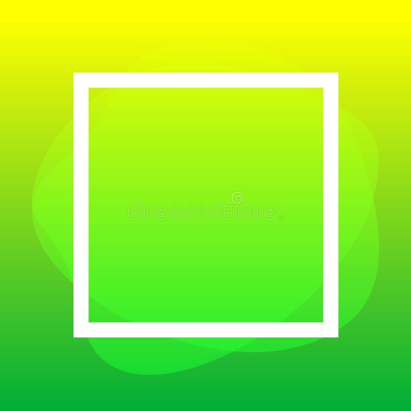 Fyrkantig ram som är vit på gröna klickformer som är geometriska för banerbakgrund, plan klick för enkel vätskefläckborste för et royaltyfri illustrationer