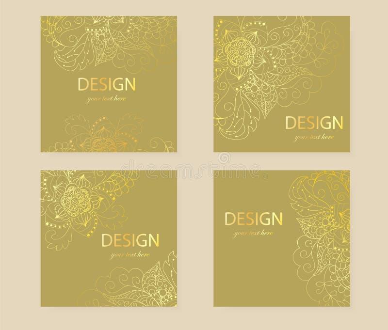 Fyrkantig reklambladguld för design Tar prov vektorn av reklamblad, inbjudningar stock illustrationer