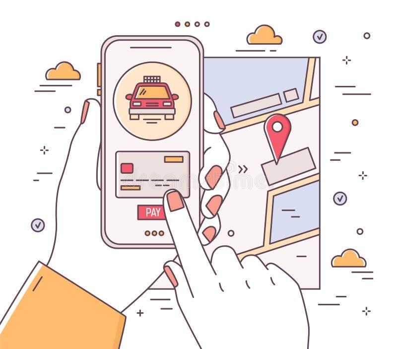 Fyrkantig rengöringsdukbanermall med händer som rymmer telefonen och gör betalning, stadsöversikt med lägefläcken Mobil applikati vektor illustrationer