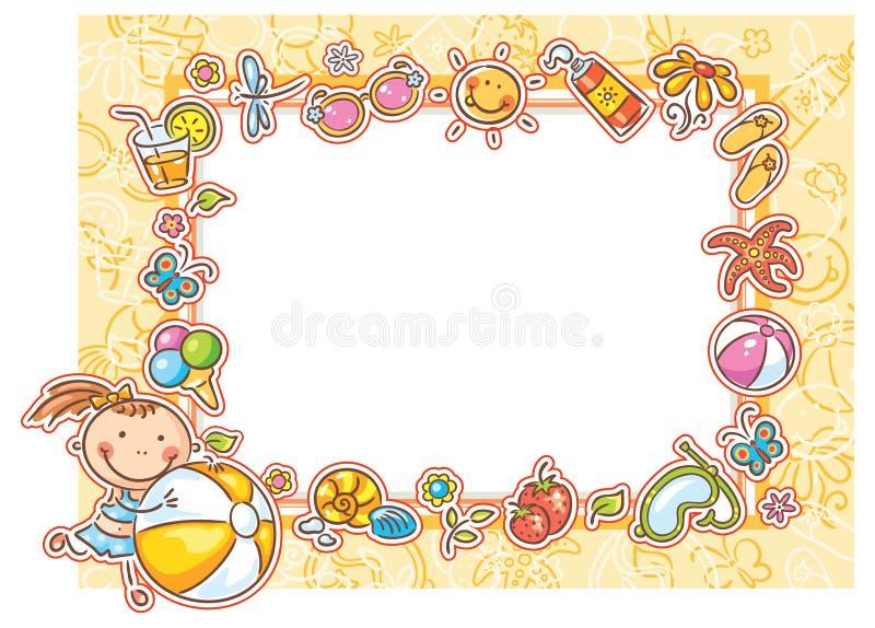 Fyrkantig sommarram med lite flickan royaltyfri illustrationer