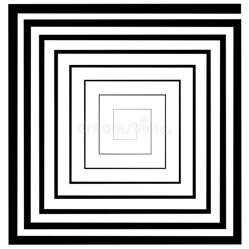 Fyrkantig spiral, labyrint, optisk illusiondeptheffekt för vektor, logomall, tatuering royaltyfri illustrationer