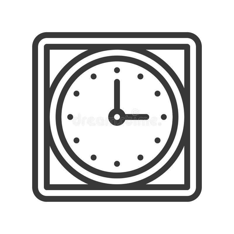 Fyrkantig symbol för väggklocka, PIXEL för slaglängd för översiktsdesign redigerbart per royaltyfri illustrationer