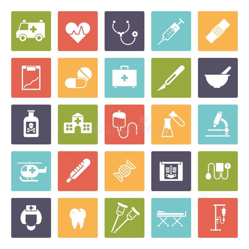 Fyrkantig symbolsuppsättning för läkarundersökning och för hälsovård stock illustrationer