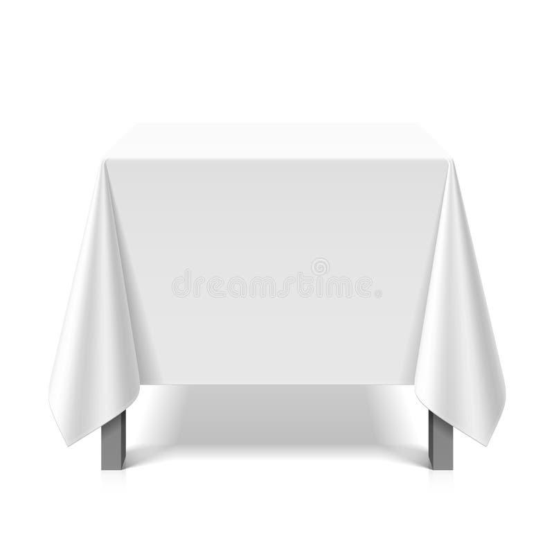 Fyrkantig tabell som täckas med den vita bordduken stock illustrationer