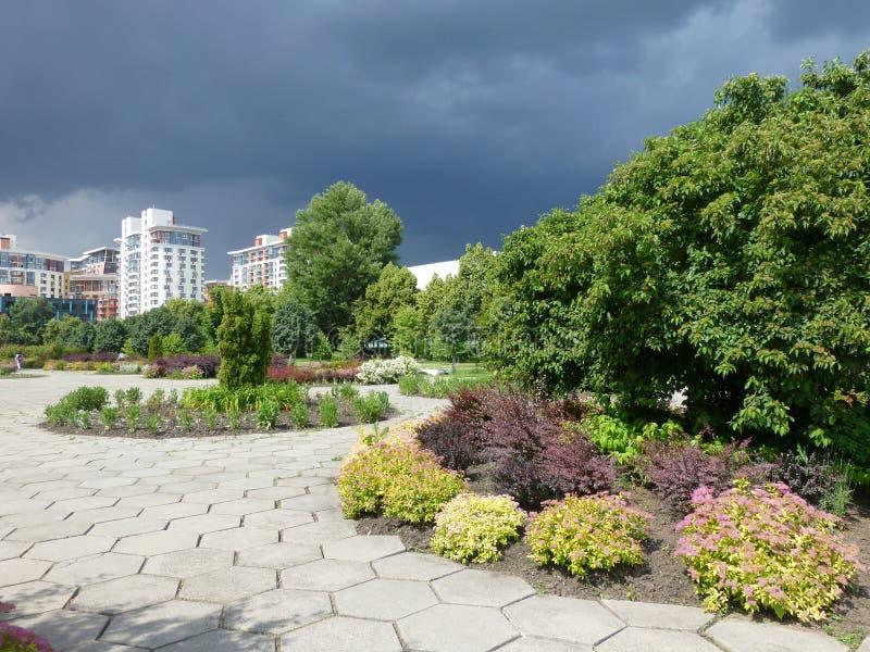 Fyrkantig universitetsområde för regn royaltyfria bilder