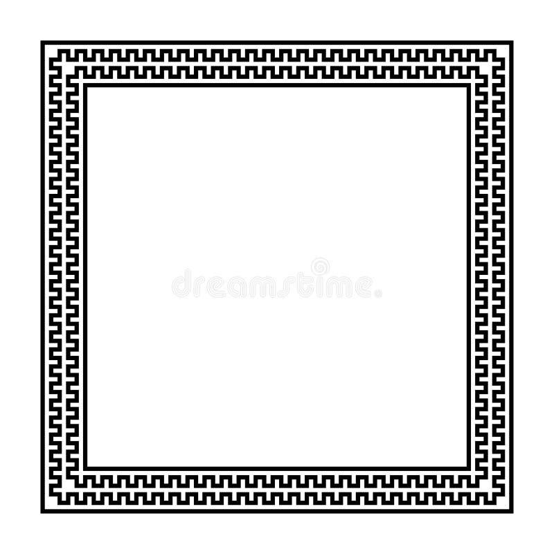 Fyrkantig vektorram med den s?ml?sa slingringarmodellen Grekisk grinighet upprepat motiv Grektangent dekorativ svart vit gr vektor illustrationer