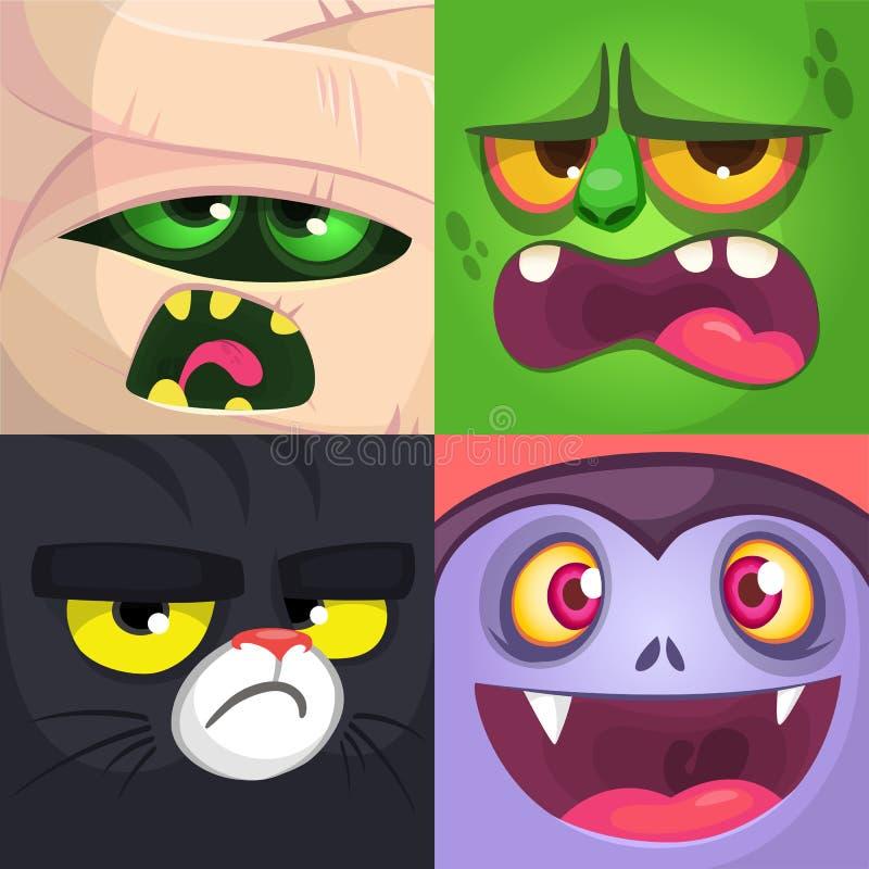 Fyrkantiga avatars för allhelgonaafton Mamma levande död, svart katt, vampyr Vektortecknad filmillustrationer royaltyfri illustrationer