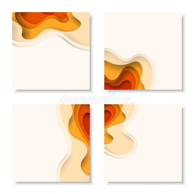 Fyrkantiga baner med bakgrund för abstrakt begrepp 3D med papperssnittet formar Vektordesignorientering vektor illustrationer
