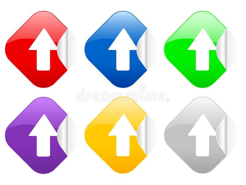 fyrkantiga etiketter för pil upp vektor illustrationer