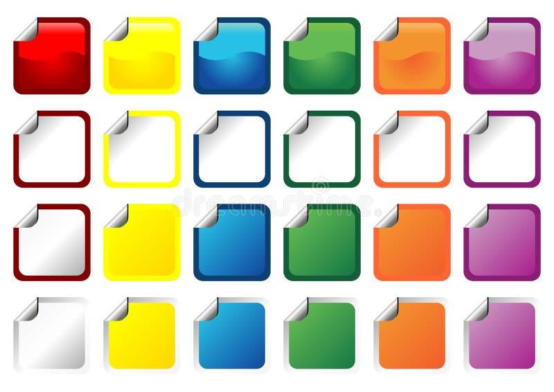 fyrkantiga etiketter för promo royaltyfri illustrationer
