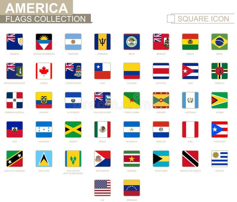Fyrkantiga flaggor av Amerika Från Anguilla till Venezuela vektor illustrationer