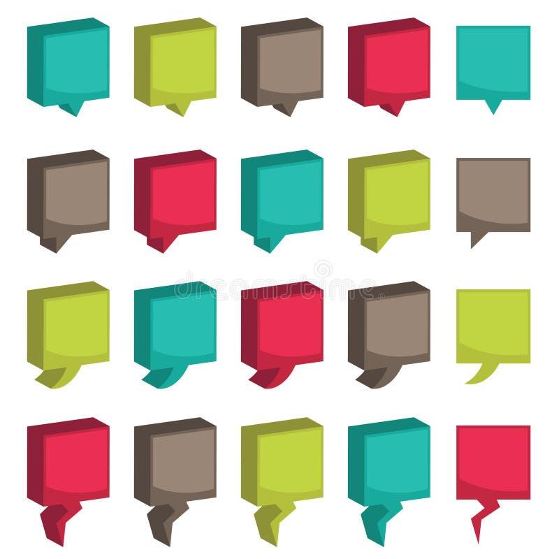 fyrkantiga flikar 3d vektor illustrationer