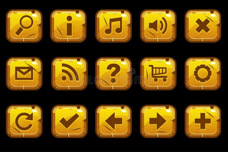 Fyrkantiga guld- gamla knappar för tecknad film royaltyfri illustrationer