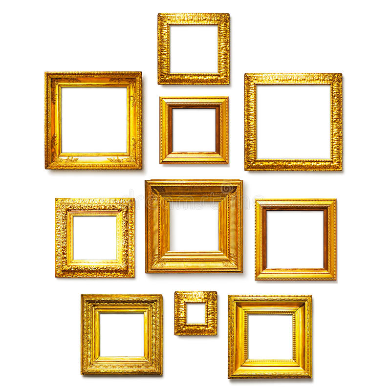 Fyrkantiga guldramar royaltyfri fotografi