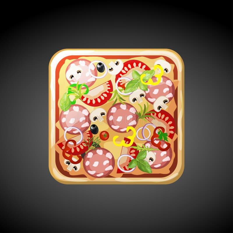 Fyrkantiga matpizzasymboler royaltyfri illustrationer