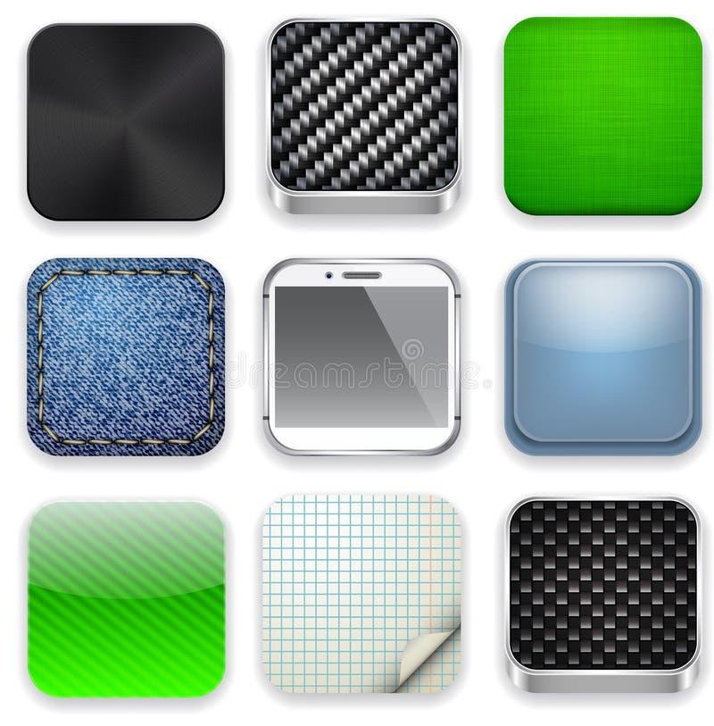 Fyrkantiga moderna app-mallsymboler. stock illustrationer