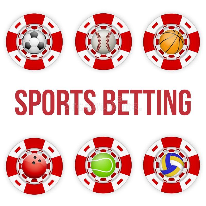 Fyrkantiga röda kasinochiper av att slå vad för fotbollsportar stock illustrationer