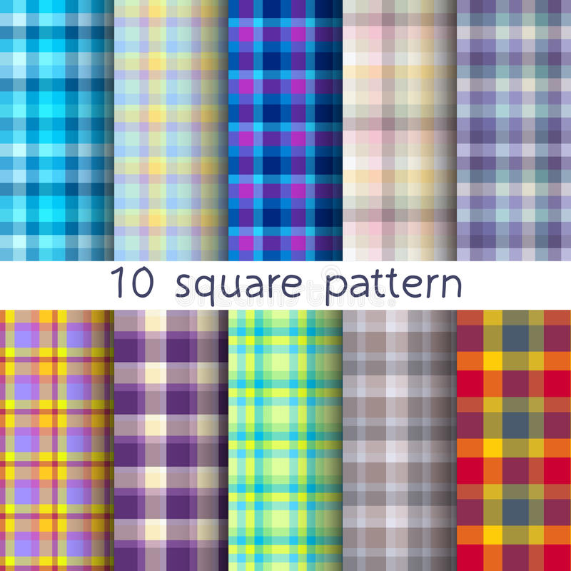 10 fyrkantiga sömlösa modeller för vektor Textur kan användas för tapeten, påfyllningen, rengöringsdukbakgrund, textur vektor illustrationer
