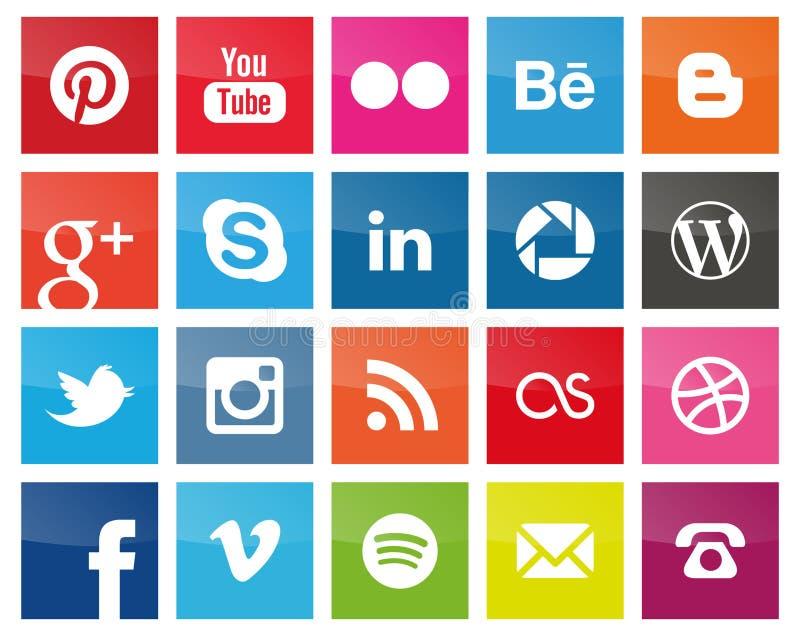 Fyrkantiga sociala massmediasymboler stock illustrationer