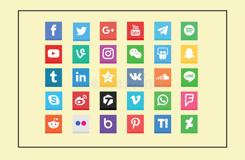 Fyrkantiga sociala massmediasymboler royaltyfri illustrationer
