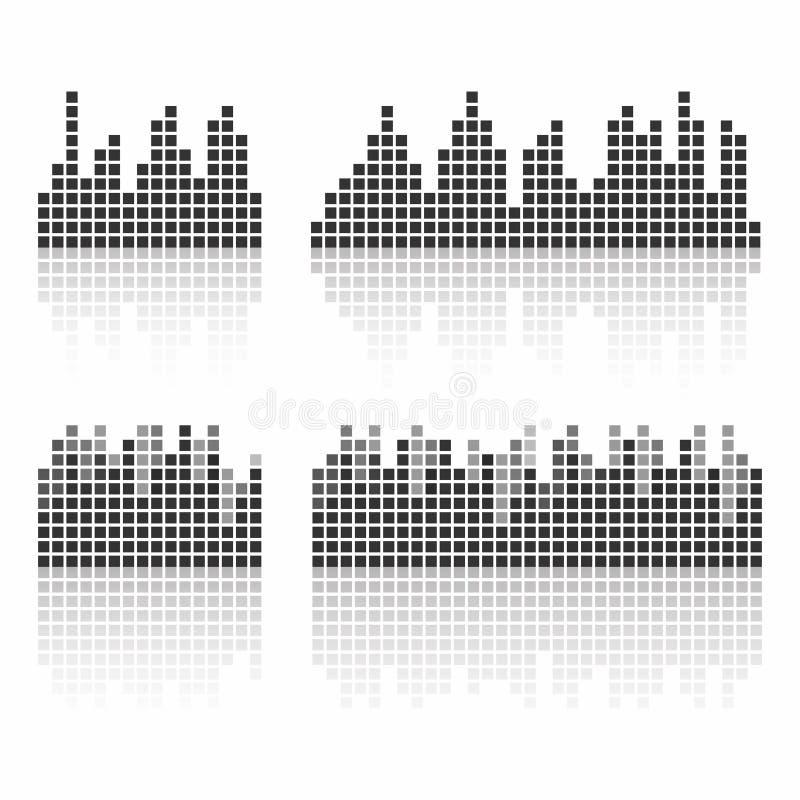 Fyrkantiga solida waveforms Musik vinkar logoen för den solida studion, mallen för ui royaltyfri illustrationer