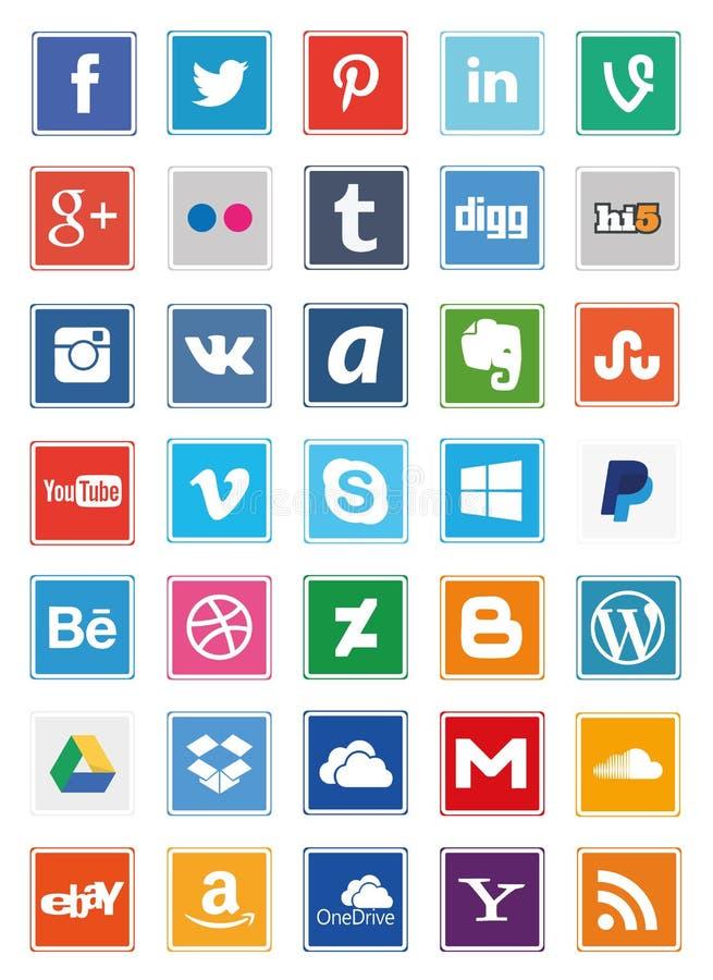 Fyrkantiga symboler för socialt massmedia vektor illustrationer
