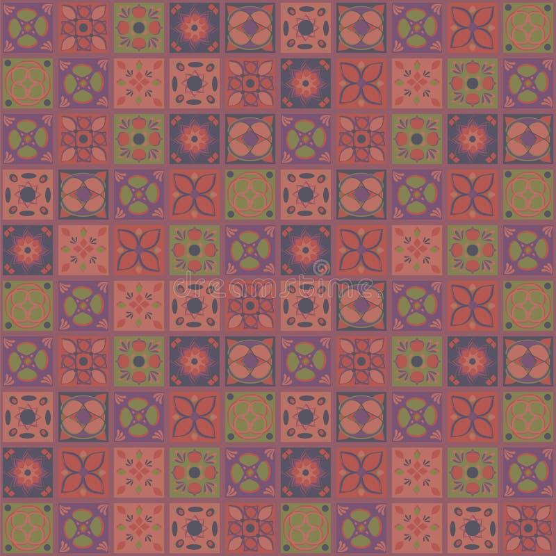 Fyrkantiga vektorindierprydnader som kontrasterar rödbrun brunt för terrakotta, belägger med tegel sömlös orientalisk folk hemlag royaltyfri illustrationer