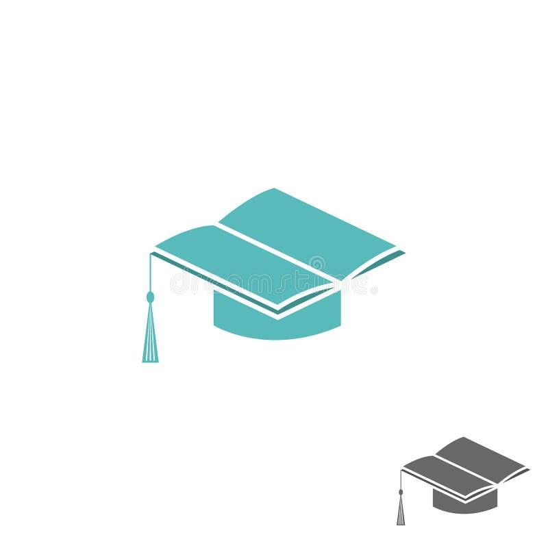 Fyrkantigt akademiskt lock för akademikermössa och boklogo-, universitet- eller högskolatecken stock illustrationer