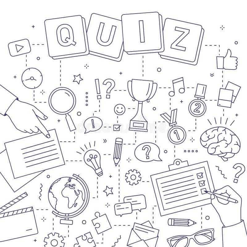 Fyrkantigt baner med händer av folk som löser gåtor, svarande frågesportfrågor, deltagande i intellektuell konkurrens royaltyfri illustrationer