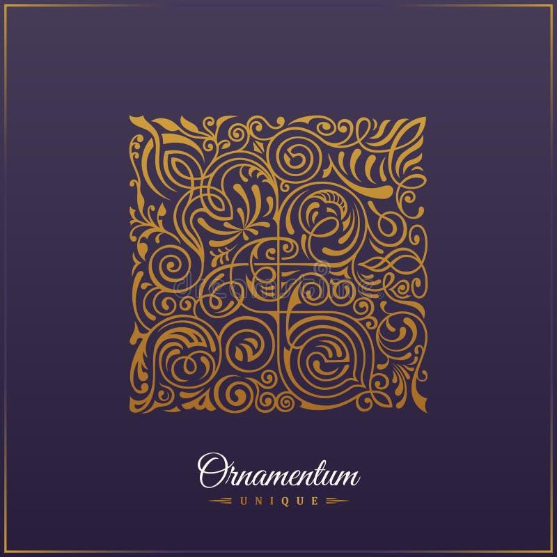 Fyrkantigt calligraphic kungligt emblem Shoppar skrivar stämplar det blom- symbolet ut för vektorn för kafét, restaurang, com för royaltyfri illustrationer