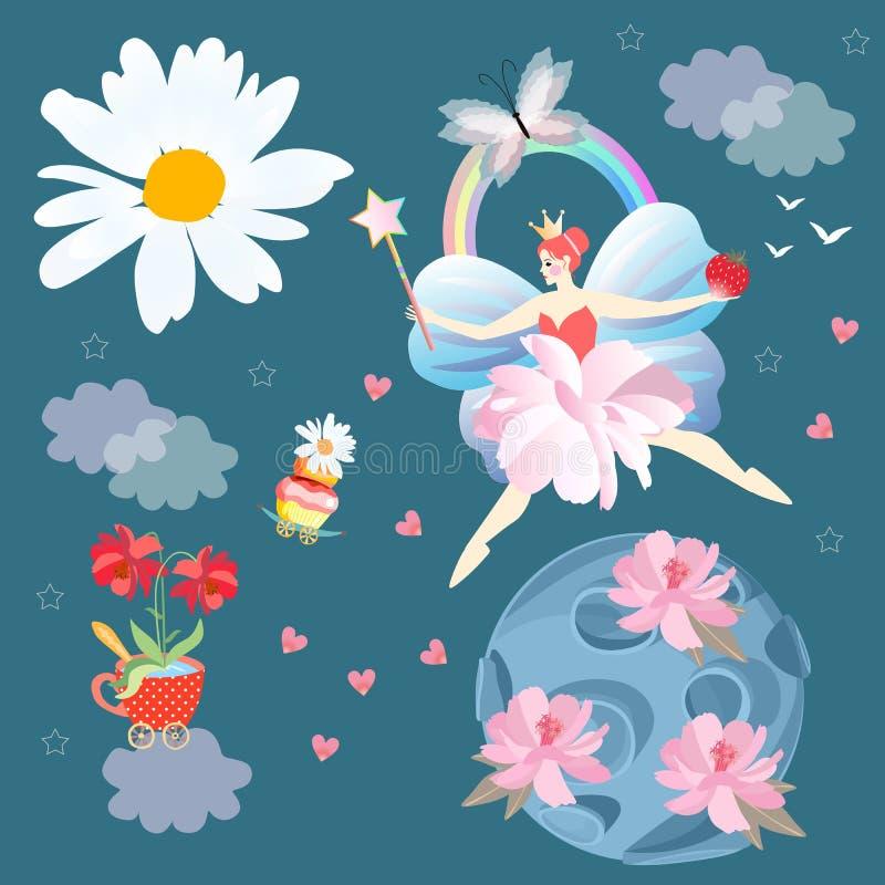 Fyrkantigt fantasikort med den bevingade felika prinsessan, planet med försiktiga rosa blommor, små kronblad - hjärtor, sol i for royaltyfri illustrationer