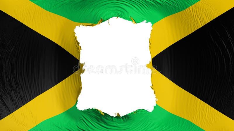 Fyrkantigt hål i den Jamaica flaggan royaltyfri illustrationer