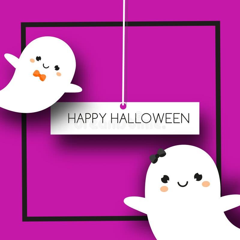 Fyrkantigt halloween baner med gulliga spökar i kawaiistil royaltyfri illustrationer