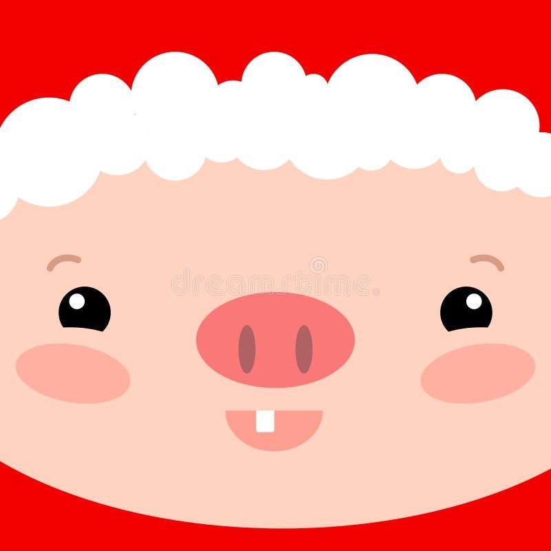 Fyrkantigt kort för gullig svinframsida Illustration för Santa Claus spädgrisvektor Mall för nytt år 2019 Djurt svin för kinesisk royaltyfri illustrationer