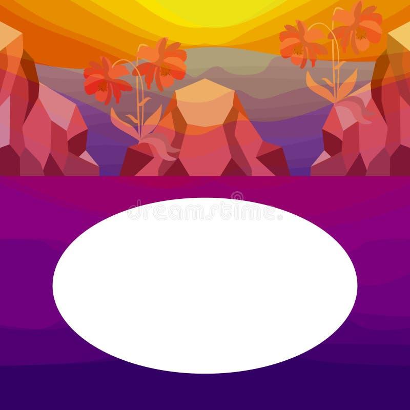 Fyrkantigt kort med vändkretslandskap, berg och röda blommor nära havet på solnedgång eller gryning Utrymme för text för designep royaltyfri illustrationer