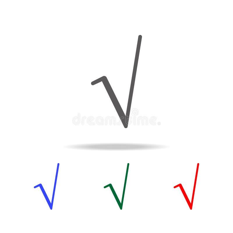 Fyrkantigt rota symbolsymbolen Beståndsdelar i mång- kulöra symboler för mobila begrepps- och rengöringsdukapps Symboler för webs stock illustrationer