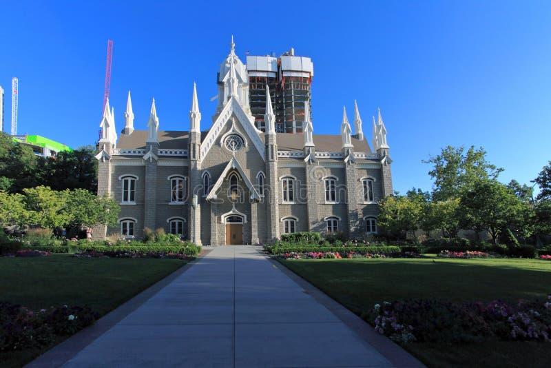 fyrkantigt tempel utah för aula royaltyfri foto