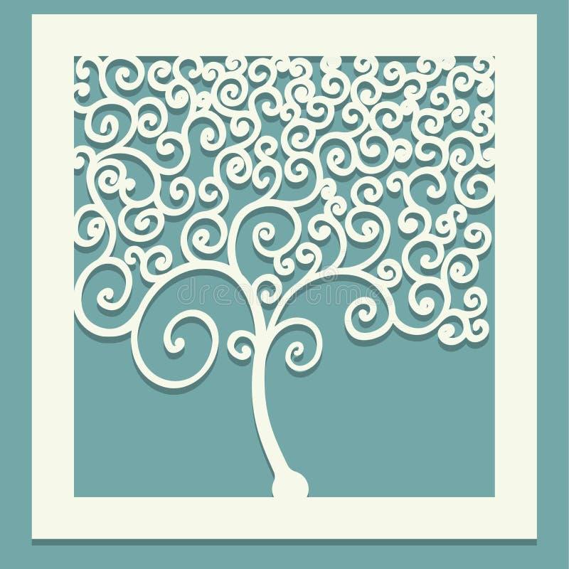 Fyrkantigt träd med krullning Dekorativ panel för att klippa pappers- kort, designbeståndsdelar, scrapbooking och annat Laser-sni vektor illustrationer