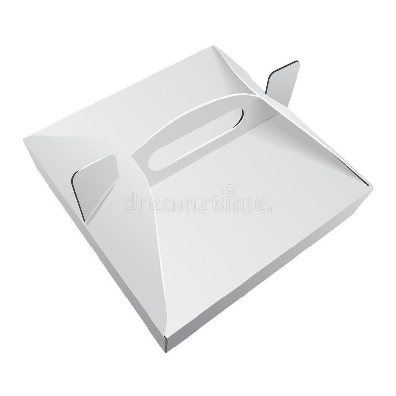 Fyrkantigt vitt förpacka för mat för ask för pizza för Kraft papper med handtagmallen Paperboardpappmodell vektor illustrationer
