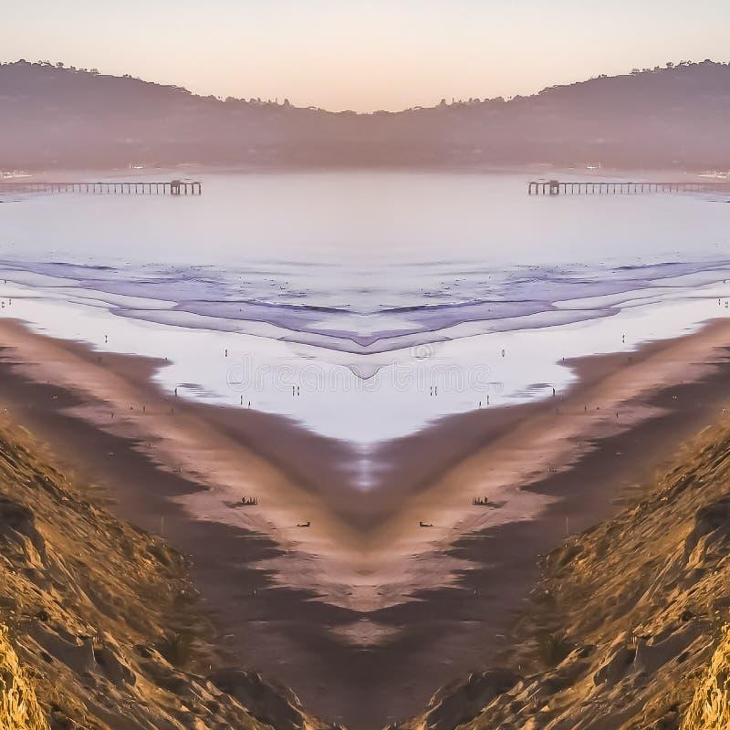 FyrkantKalifornien kust på en mittaxel av symmetrin arkivbild