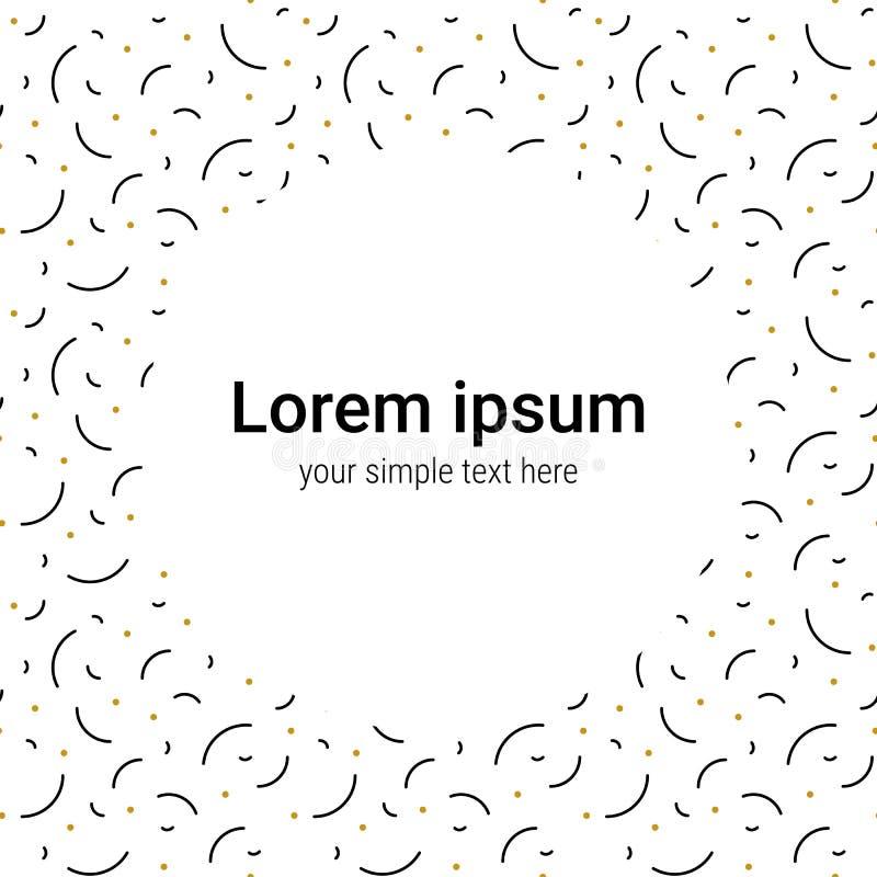 Fyrkantmemphis mall med ett ställe för din text Moderiktig bakgrund för din design abstrakt bakgrundsvektor svart guld vektor illustrationer