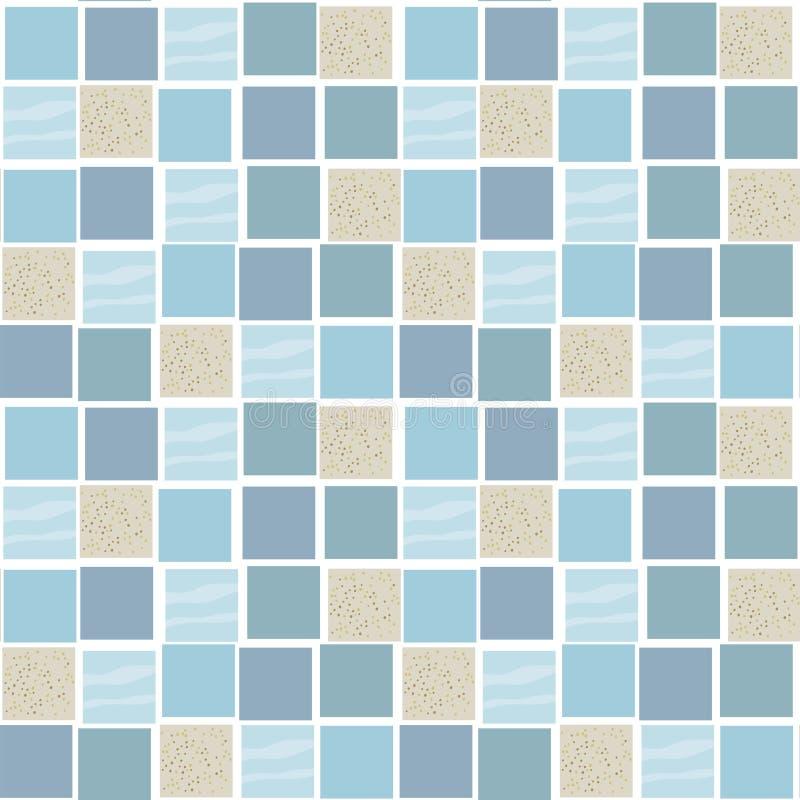 Fyrkanttegelplattor av marinblåa skuggor och beiga med en sand texturerar den sömlösa modellen för den utdragna vektorn royaltyfri illustrationer