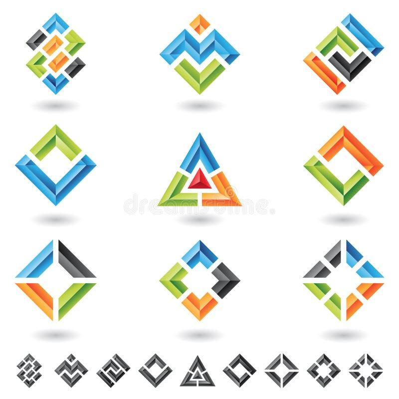 fyrkanttrianglar för rektanglar 3d royaltyfri illustrationer